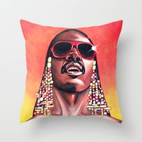 stevie nicks Throw Pillows featuring Stevie Wonder by Laura-A