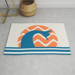 Hang Loose Wave // Sun Surfer Shaka Beach Retro Graphic Design Horizontal Daze Waves Rug
