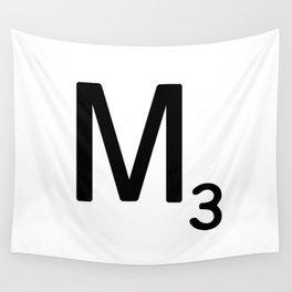 Letter M - Custom Scrabble Letter Tile Art - Scrabble M Initial Wall Tapestry
