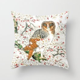 Owl and Cherry Flowers Throw Pillow