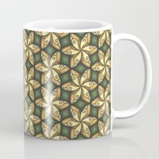 Flower Pattern Yellow/Deep Green Mug