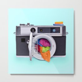 WASHING CAMERA Metal Print