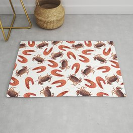crab shrimps pattern white Rug
