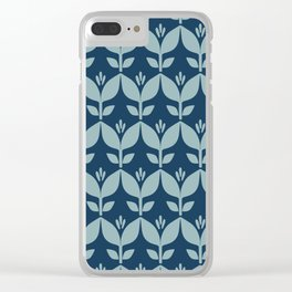 Navy blue retro tulip floral Clear iPhone Case