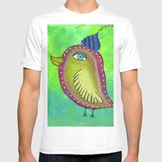 Quirky Bird 4 White Mens Fitted Tee MEDIUM