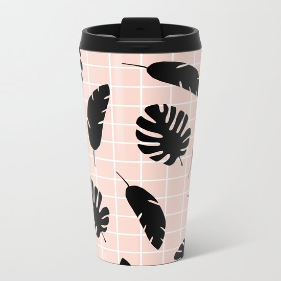 Graphic Tropical Leaves on Grid Black and Pink Metal Travel Mug