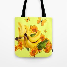 GREEN FROGS BANANAS SUNFLOWERS BUTTERFLY DESIGN Tote Bag