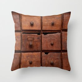 Wooden cabinet with drawers Throw Pillow