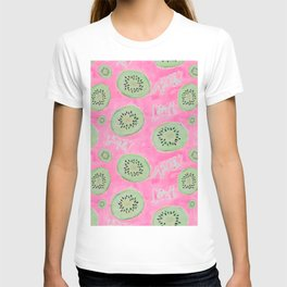 Watercolor Kiwi Slices in Neon Pink Punch T-shirt