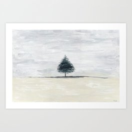 Lone tree in desert Art Print