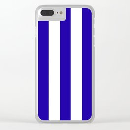 Neon blue - solid color - white vertical lines pattern Clear iPhone Case