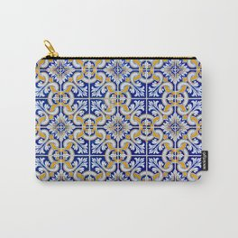 Close-up of blue, white and yellow ceramic wall tiles in Tavira, Portugal Carry-All Pouch