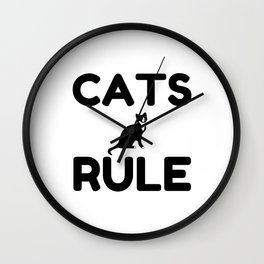 Cats Rule Paw Pet Fan Wall Clock