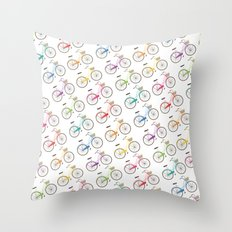 Rainbow Bicycles Throw Pillow