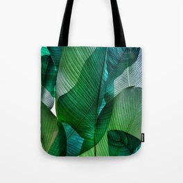 Palm leaf jungle Bali banana palm frond greens Tote Bag