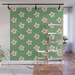 Retro Happy Daisy Flower in Green Wall Mural