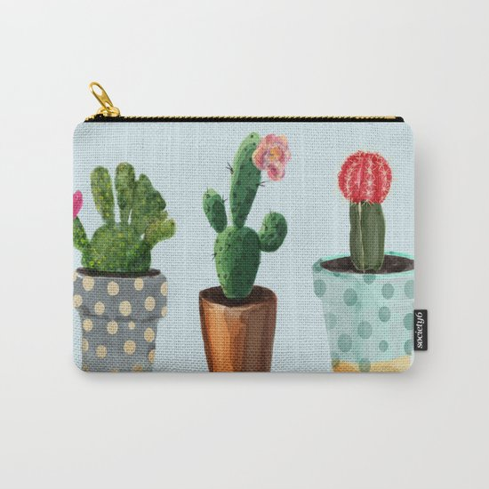 Three Cacti With Flowers On Light Blue Background Carry-All Pouch