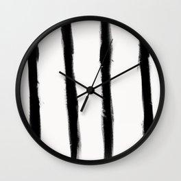 Medium Brush Strokes Vertical Black on Off White Wall Clock