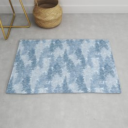 Blue Winter Conifer Forest Watercolor Pattern Rug