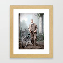 Charles James Piper (of Piper's Siding, Burnaby Lake), standing with a safety bicycle, c.1892 Framed Art Print