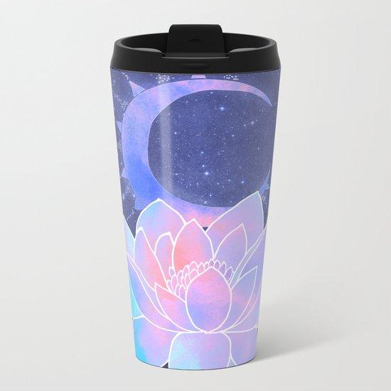 moon lotus flower Metal Travel Mug