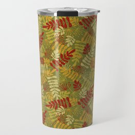 Green Red Yellow Leaf And Seeds Silhouettes Travel Mug
