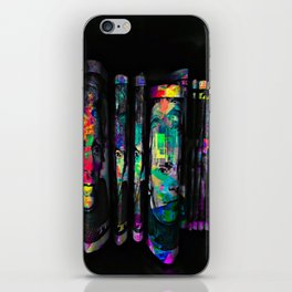dollar bill with colorful painting abstract in blue red yellow green iPhone Skin