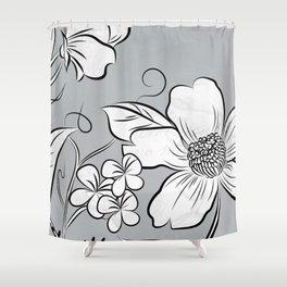 Merry Marsh Marigold - Black and White Shower Curtain