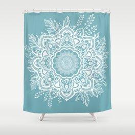 Mandala Bohemian Neptune Floral Wreath Illustration Shower Curtain