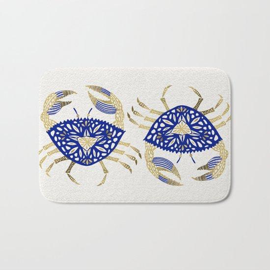 Crab – Navy & Gold Bath Mat