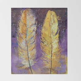 Gold Feathers Throw Blanket