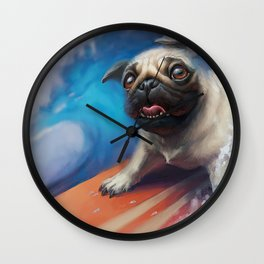 Surfing Pug Dog Wall Clock