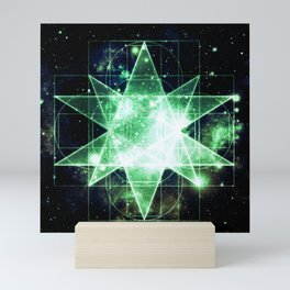Sacred Geometry Green Midnight Blue Galaxy Mini Art Print
