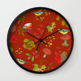 Red Forest Pattern Wall Clock