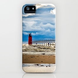 """South Haven Lighthouse"" - South Haven, MI iPhone Case"