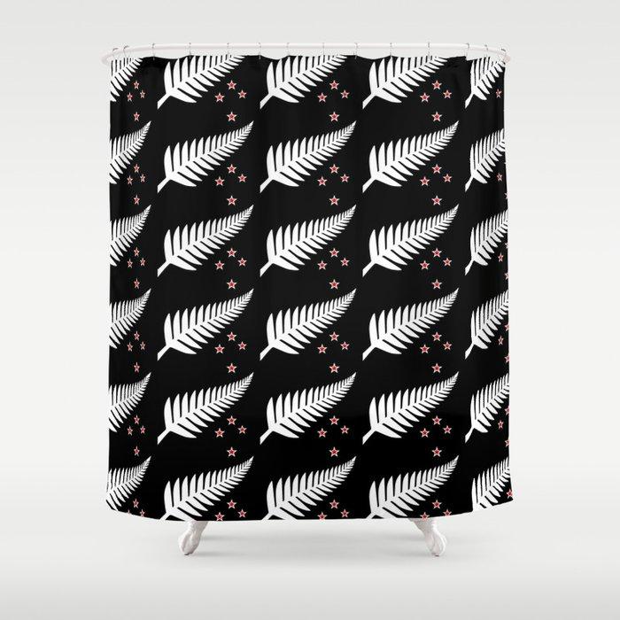 New Zealand Silver Fern Flag Black Pattern Shower Curtain by ...