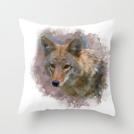 Digital painting of Coyote Portrait Throw Pillow