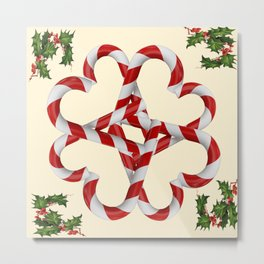 CREAMY YELLOW  RED-WHITE PINK  CHRISTMAS CANDY CANES Metal Print