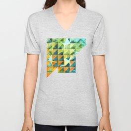 Abstract Geometric Tropical Banana Leaves Pattern Unisex V-Neck