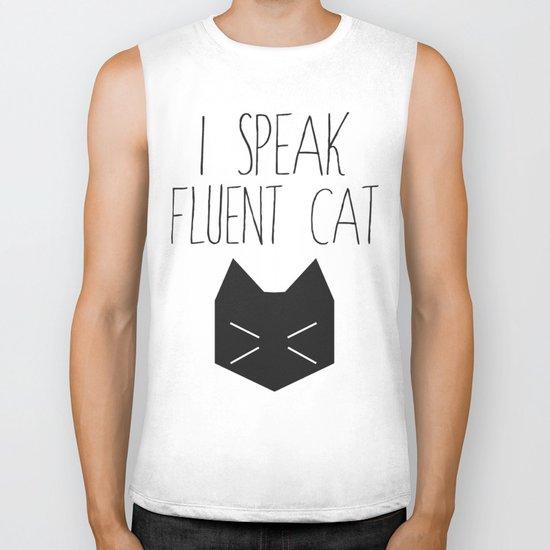 I Speak Fluent Cat Biker Tank