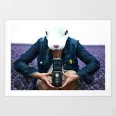 Bunny in a lavender field. Art Print