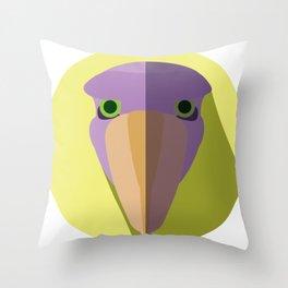 Purple Shoebill Stork Icon Throw Pillow