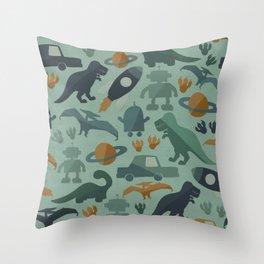 Little Boy Retro Fun Print, Robots, Dinosaurs, Cars and Rocket Ships, Minimalist Retro, Blue Throw Pillow