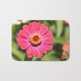 pink common zinnia 02 Bath Mat