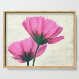 Soft pink flowers, painting Serving Tray