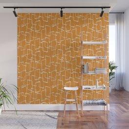 Retro Orange Lino Print Geometric Pattern Wall Mural