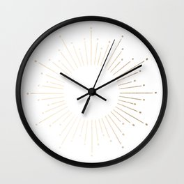 Simply Sunburst in White Gold Sands on White Wall Clock
