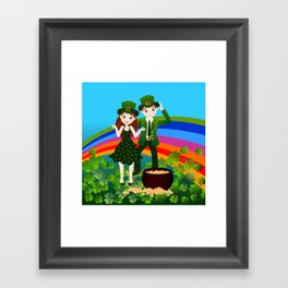 Kids and Saint Patrick Day Framed Art Print