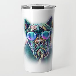 Cane Corso Neon Dog Sunglasses Travel Mug