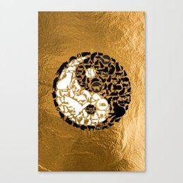 Yin-Yang Cats - Gold Canvas Print